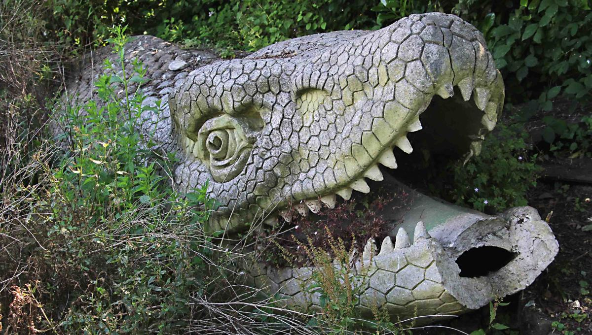 Today, the Mosasaurus head lies half buried and often overlooked in undergrowth by the water's edge. This photo was taken on Dinosaur Island