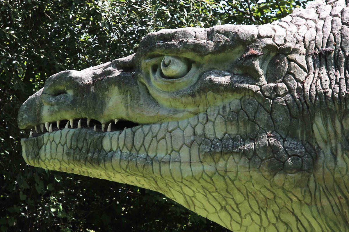 The powerful jaws of Megalosaurus - perhaps the most accurate part of the reconstructed Crystal Palace dinosaur?