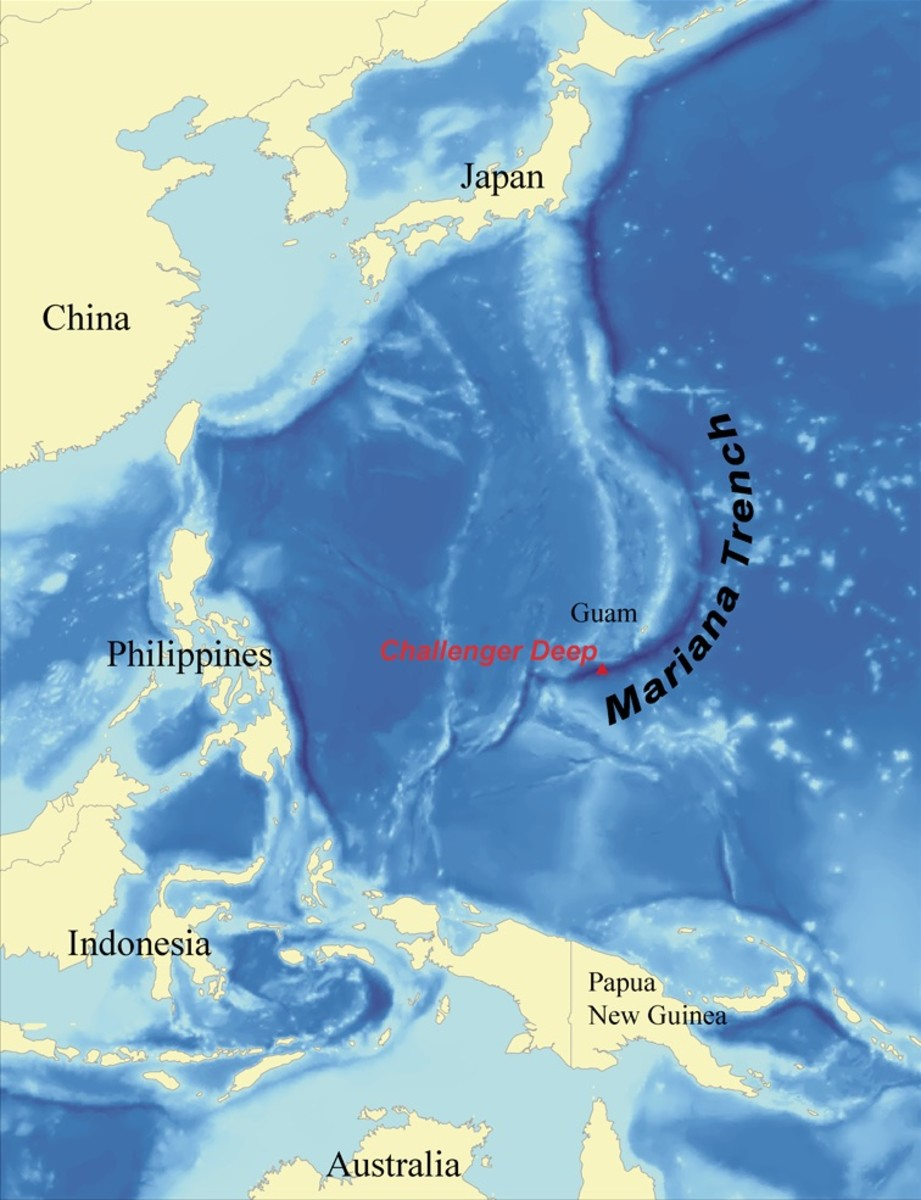 Location of Guam and the Mariana Trench
