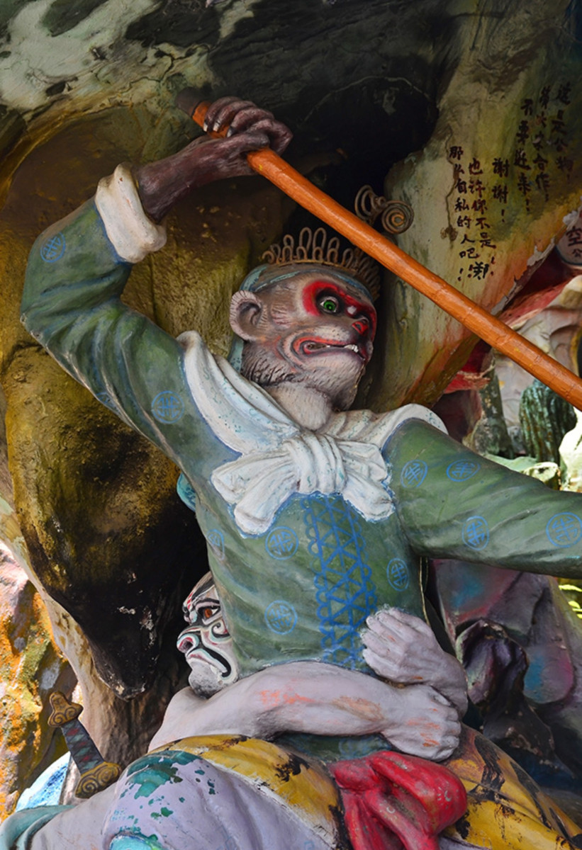 """Monkey God Sun Wukong with his magical rod. The most famous """"hero"""" in Chinese mythology."""