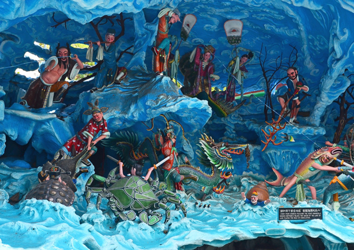 Diorama of the Eight Immortals crossing the sea at Singapore's Haw Par Villa.