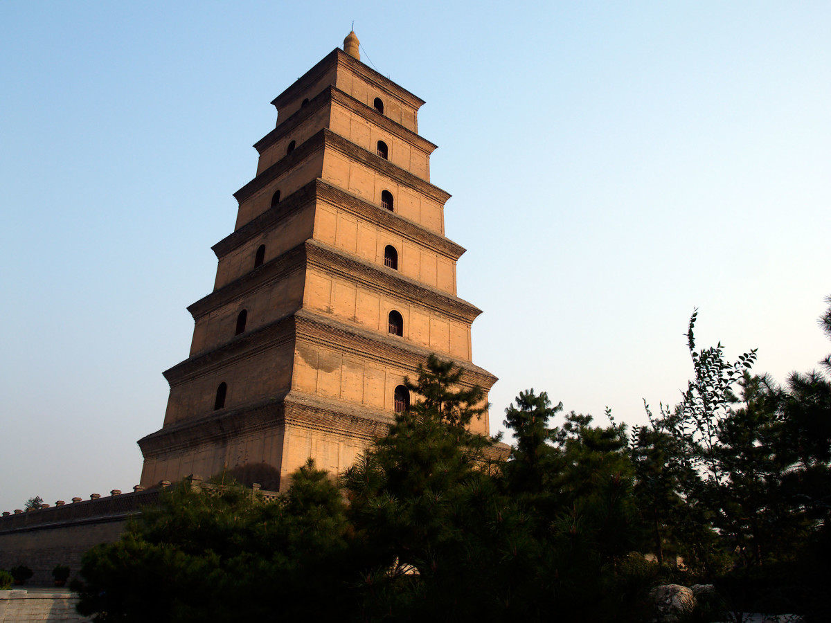 The Great Wild Goose Pagoda in Xi'an. This ancient structure once held the sutras brought back to China by Xuan Zang and is today, a major tourist attraction of the city.