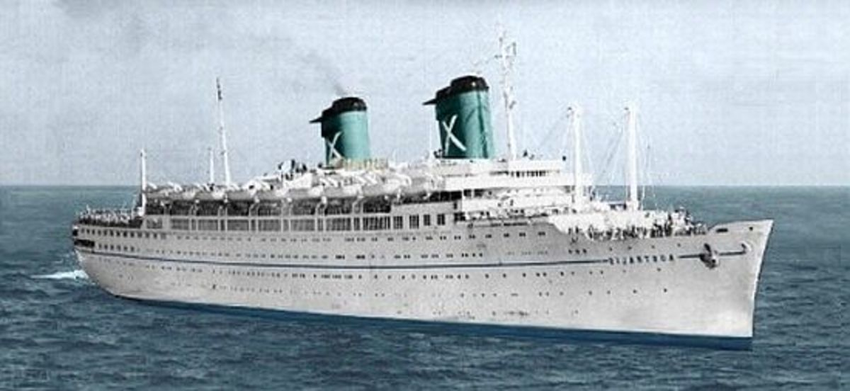 The SS Australis repainted from its original red, white and black.
