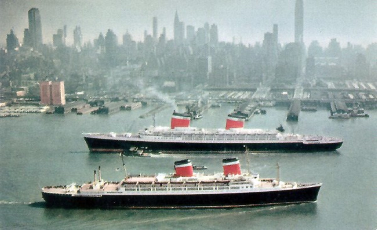 The SS United States with the SS America in the 1950s.
