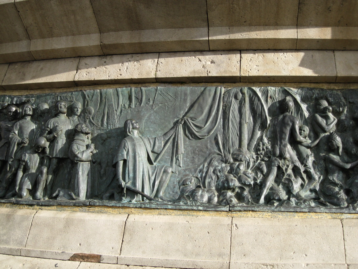 Bronze sculpture on Columbus Memorial in Barcelona, Spain that depicts Columbus and his crew landing on San Salvador Island in the Caribbean.