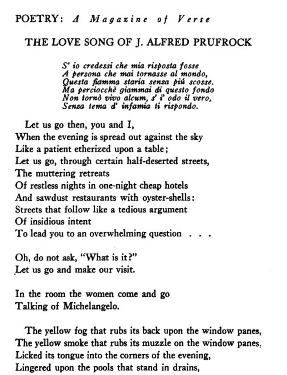 a poem analysis of the love song of j alfred prufrock by t s eliot The love song of j alfred prufrock by ts eliot is a poem that is said to have been written over the days he was in harvard in 1910 despite the.