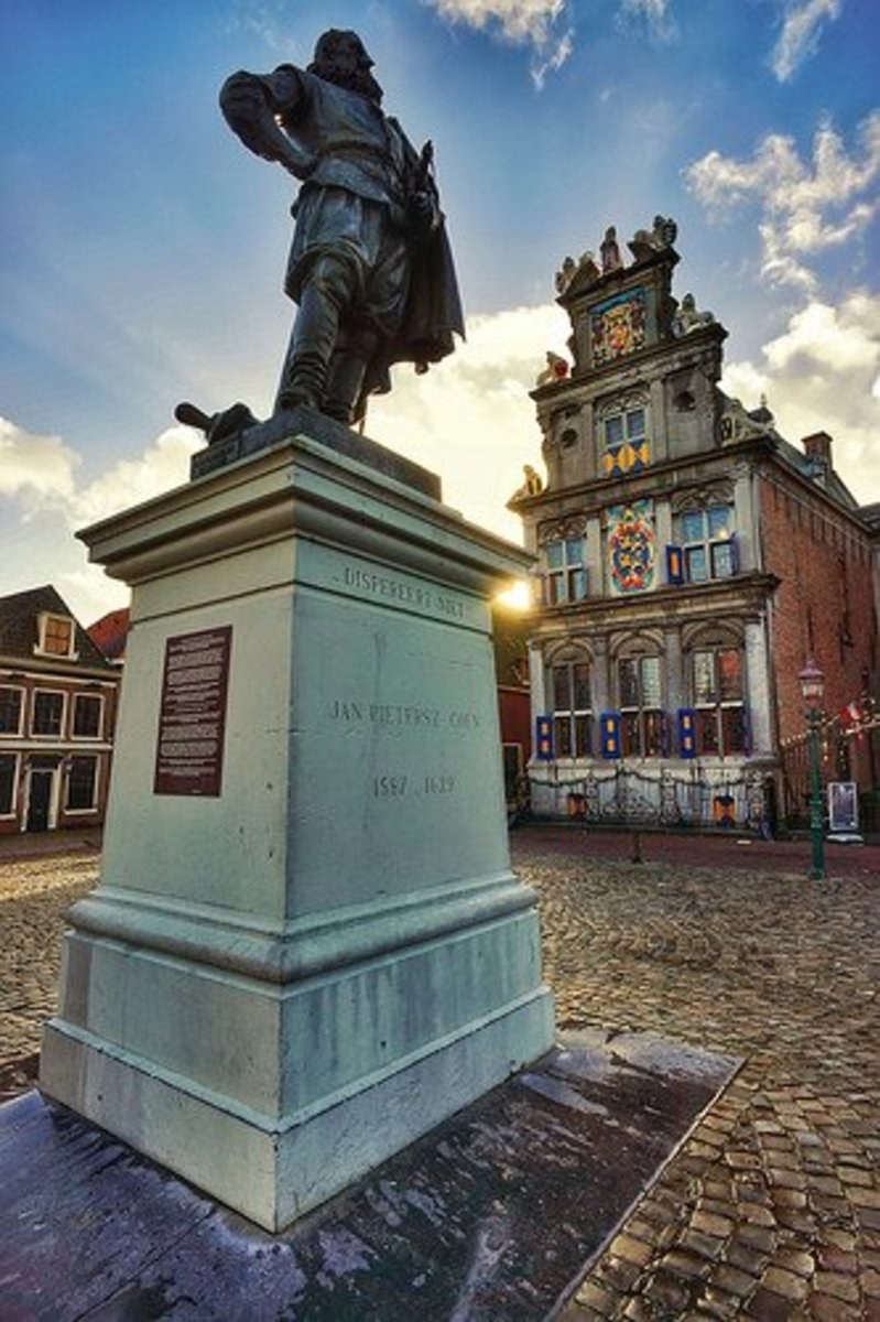 A statue honours Jan Pieterszoon Coen in his hometown of Hoom. Today, his actions would warrant a war crimes trial.