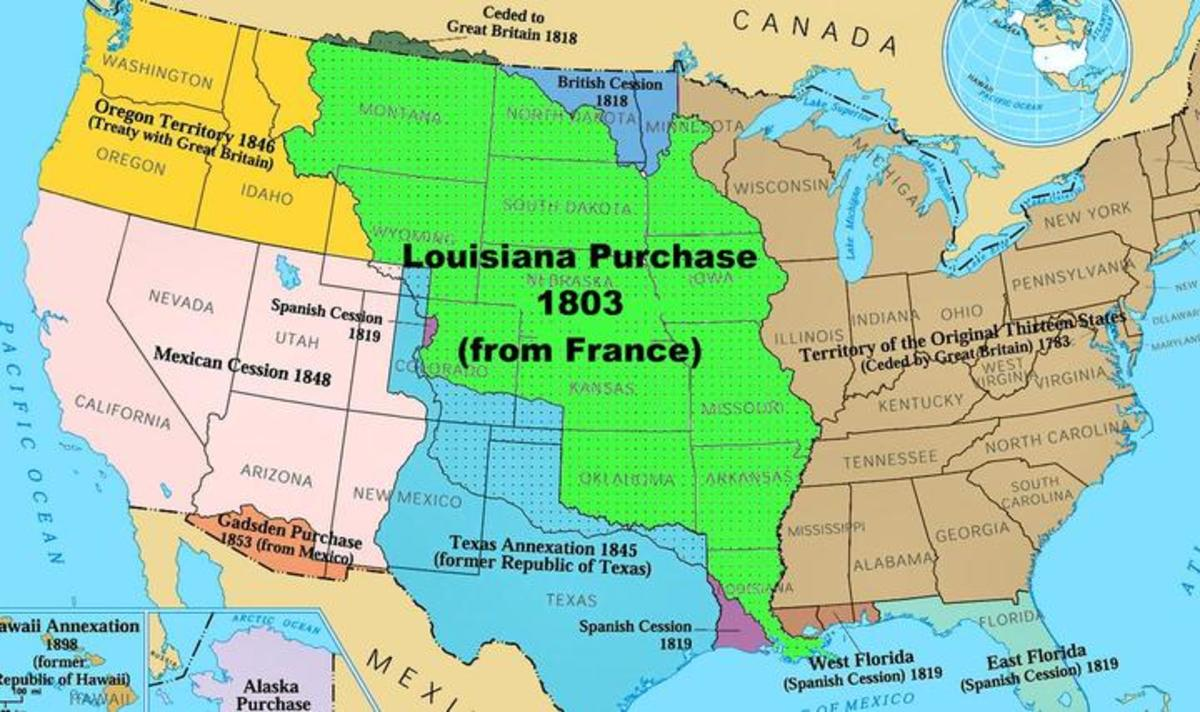 The Louisiana Purchase was the acquisition of a vast territory by the United States from France in 1803. In return for fifteen million dollars, or approximately eighteen dollars per square mile.