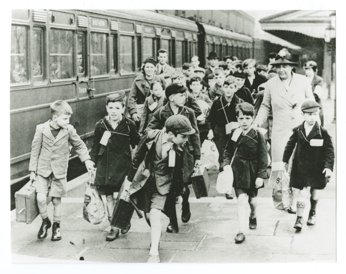Child evacuees with name labels