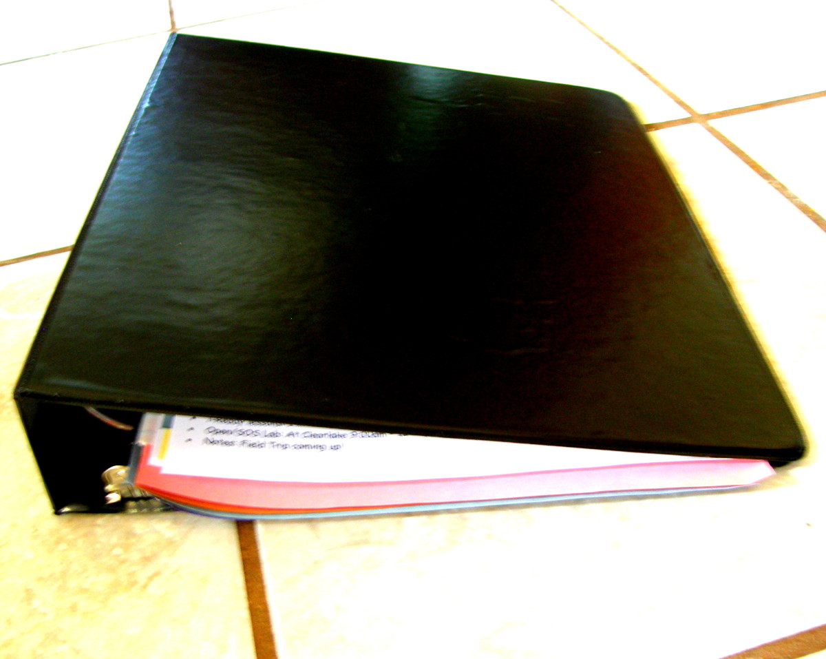 Binder that is used to store and organize work for each subject