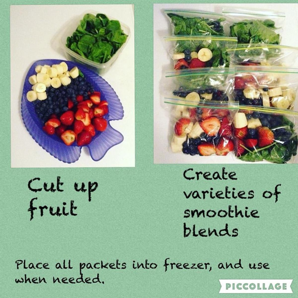 We prepare smoothie packets at the beginning of the week.