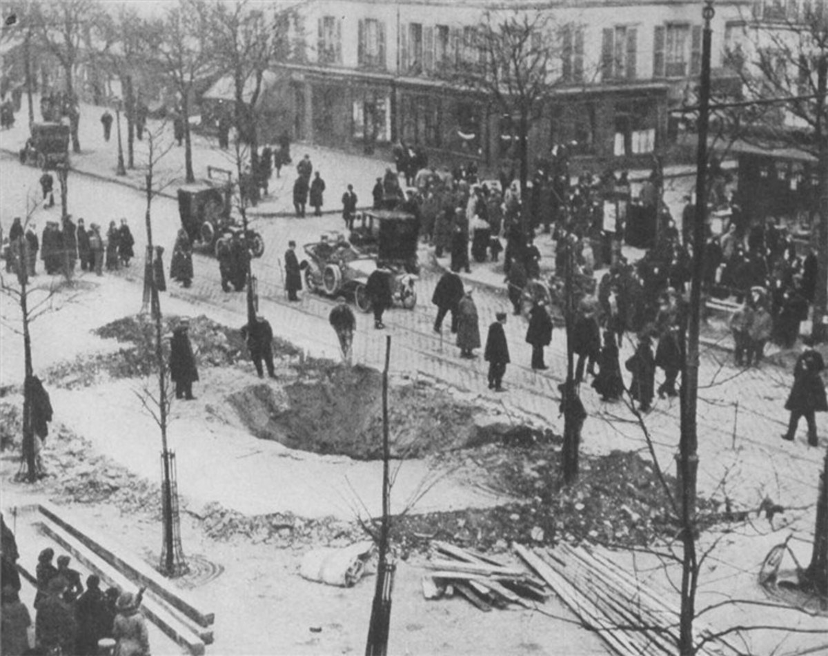Bomb crater in Paris 1916, a result of a Zeppelin attack, Germans airships designs were light years ahead of Allied airships which were used only for observation on the battlefield.