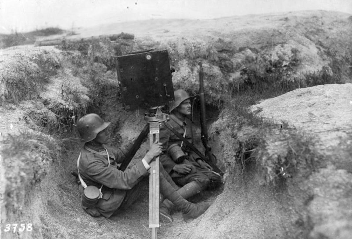 German film crew in action on the Western Front, World War I was the first war ever filmed in the history of warfare.