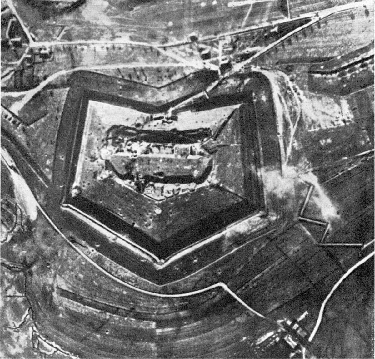 Fort Douaumont the largest of the nineteen forts located on the frontier outside of Verdun before the battle.
