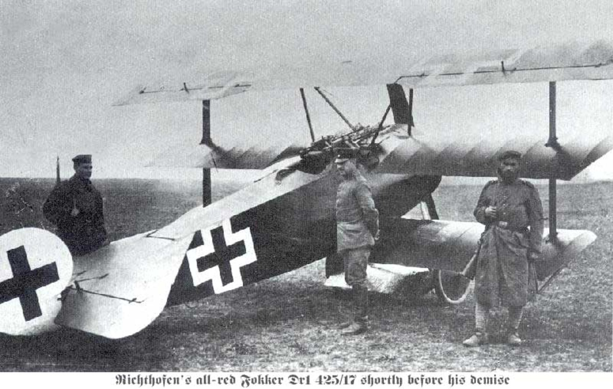 The FokkerTriplane used by the Red Baron during the air war over Verdun 1916. Over 165 German warplanes massed over the battlefield of Verdun the largest in the history of warfare.