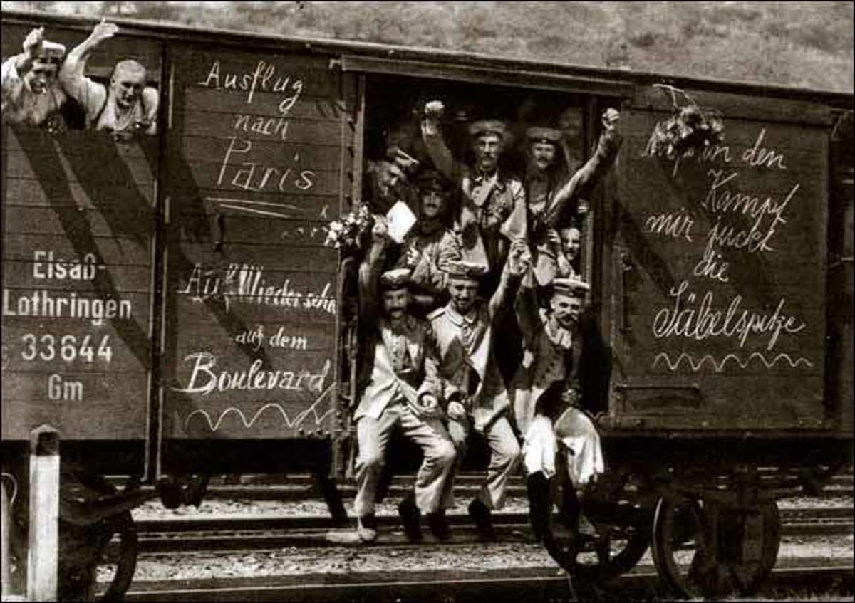 German troops on the way to battle, railroads prove vital to troop movement in the First World War .