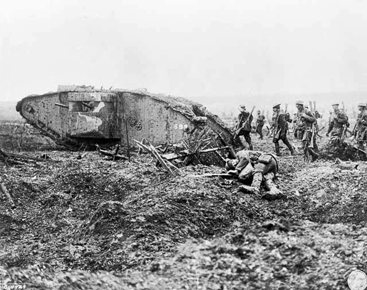 A Canadian Tank attacking German positions on the Western Front.  Tanks were used for the first time on the Western Front it would become a decisive weapon toward the end of the war.