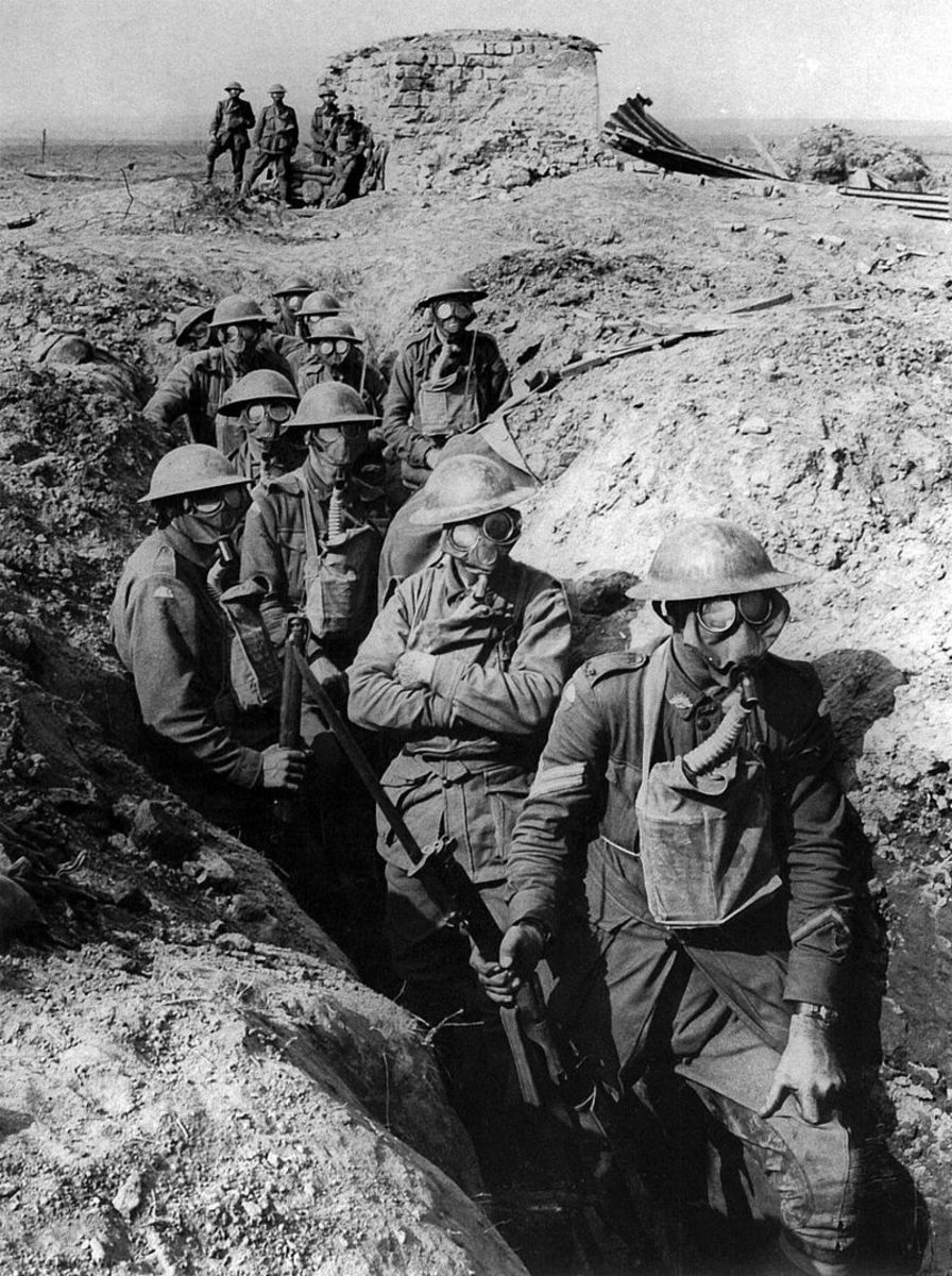 British troops with gas masks, poison gas attacks were common on the Western Front.