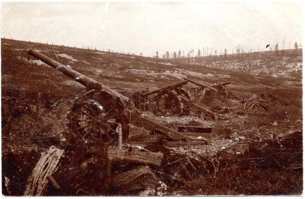 French long gun over-run at Verdun by German troops 1916.
