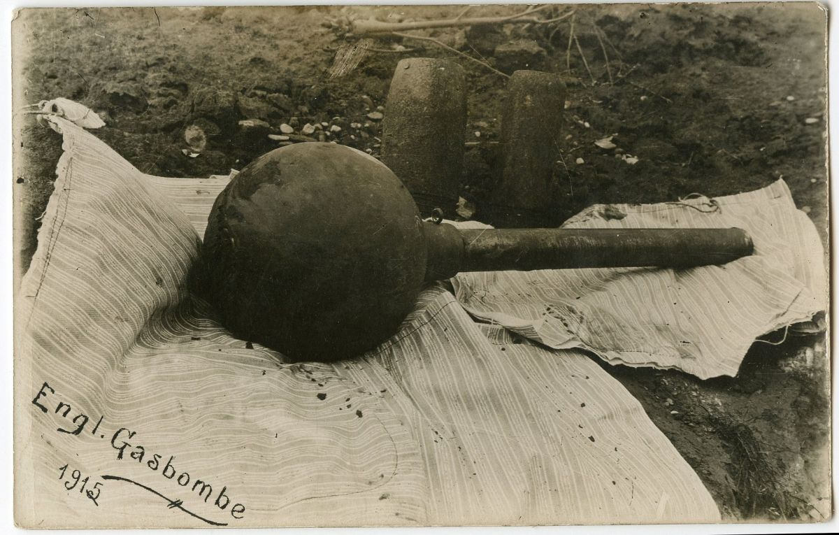 Poison gas grenade used by British soldiers on the Western Front.