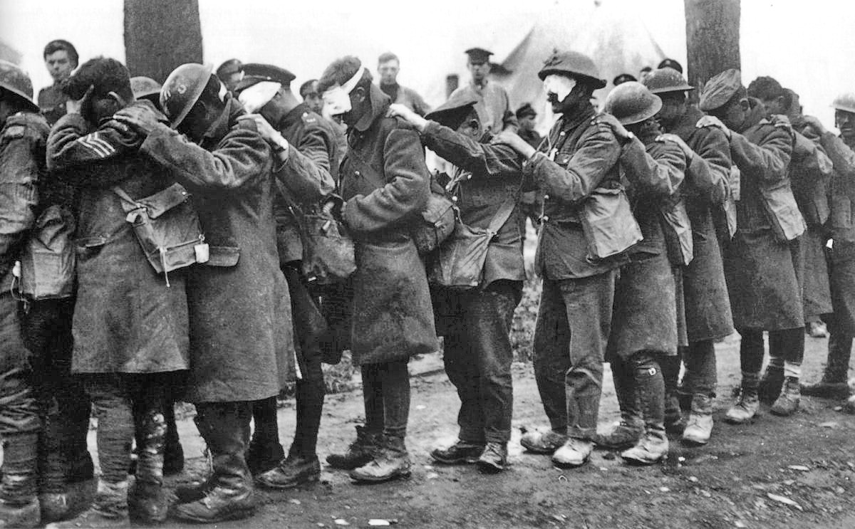 Wounded British troops most likely form a tear gas attack.
