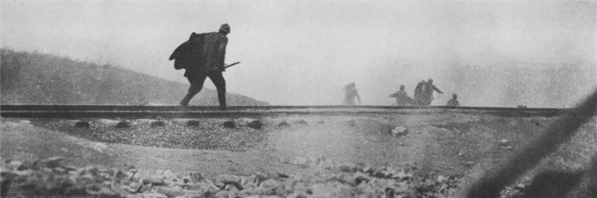 French infantry attacking a rail junction which was vital to supporting troops on the battlefield.
