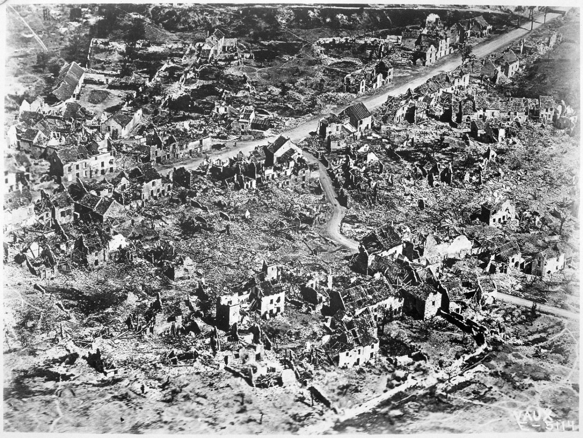 A French frontier town destroyed by German artillery.