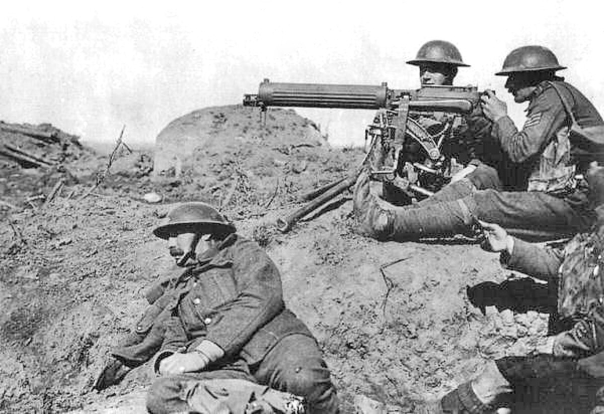 British Vickers machine gun in action on the Western Front. The machine gun revolutionized the way war would be fought in the twentieth century.