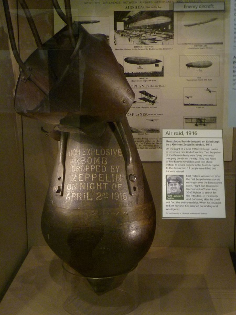 An unexploded zeppelin bomb dropped on London during the Zeppelin Blitz.