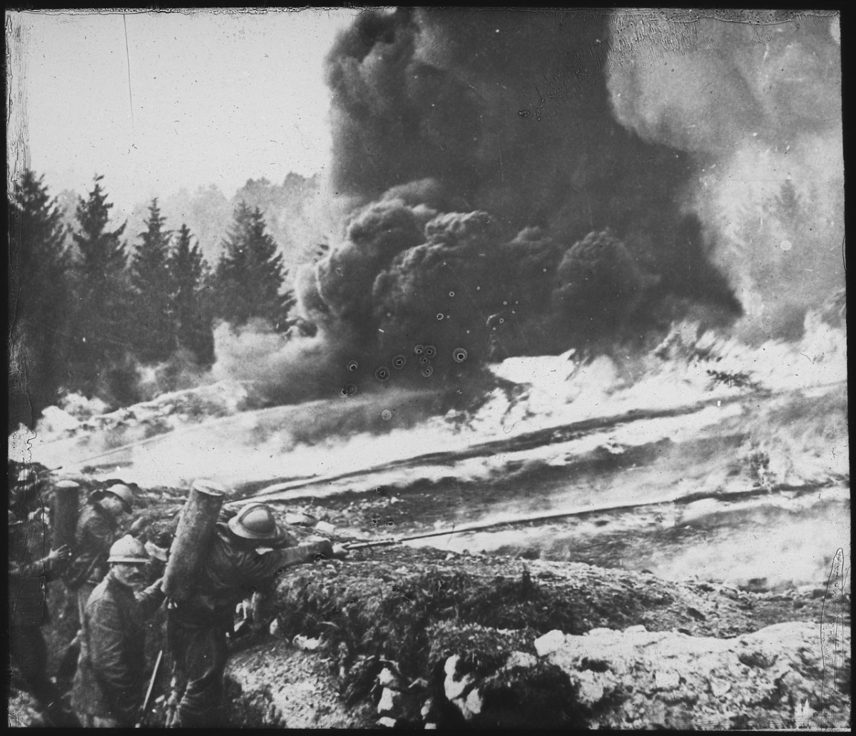 Flamethrowers were used for the first time in WWI, this picture shows French troops in action.