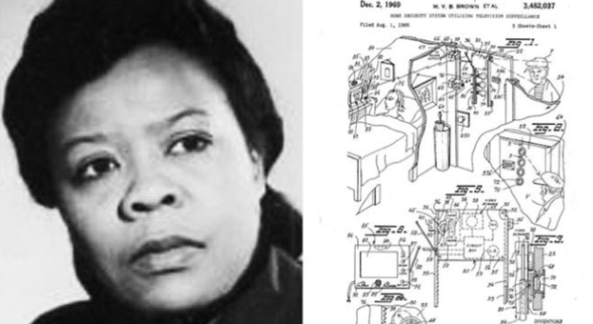 At left, a picture of Marie.  At right, the sketches for her security system as filed in her patent.