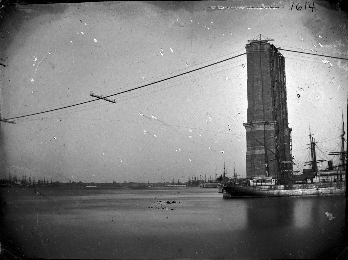The Brooklyn Bridge under construction, c. 1872-1887.