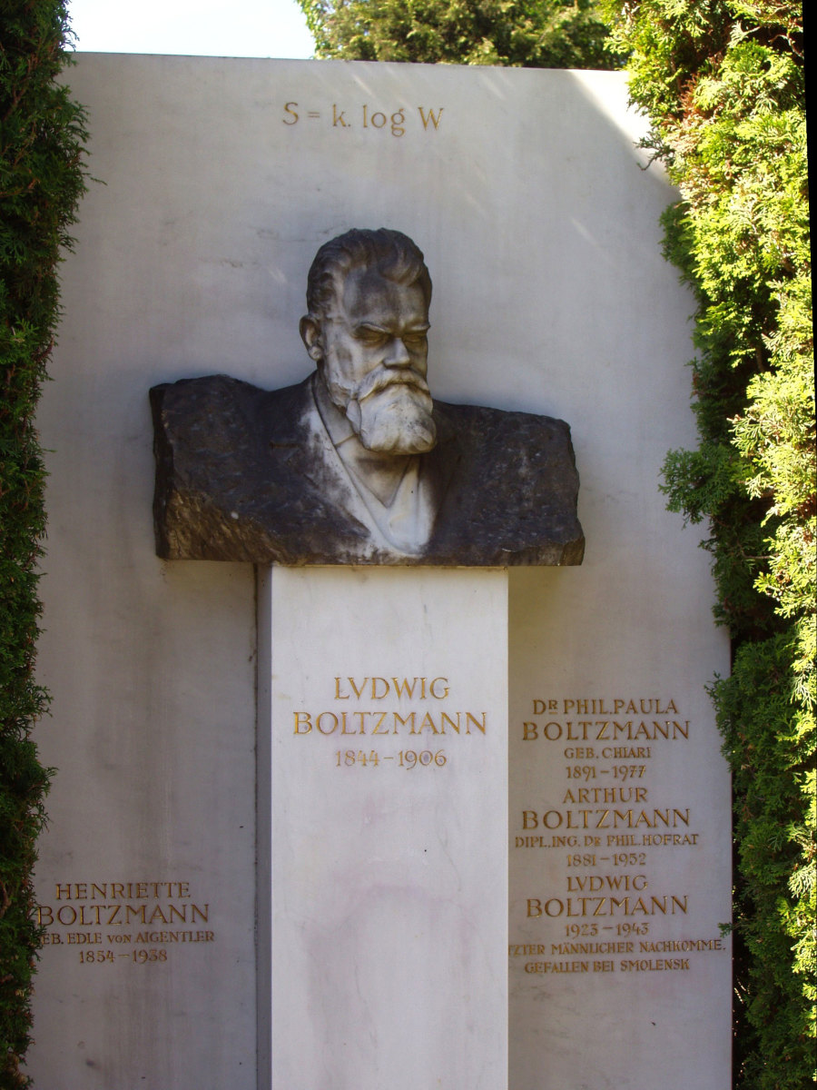 Ludwig Boltzmann's grave in Vienna, with his equation carved above his bust.