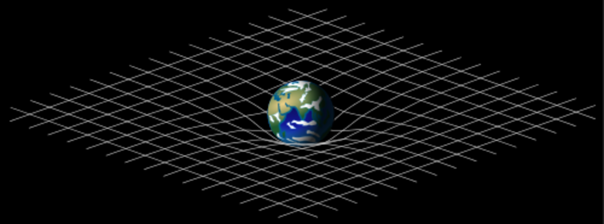 The earth bending nearby spacetime, hence objects such as the moon would be attracted towards it.
