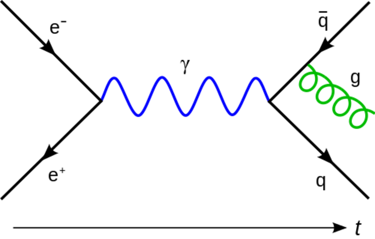 An example of a Feynman diagram, an electron and a positron annihilate into a photon which then  produces a quark and an antiquark (which then radiates a gluon).