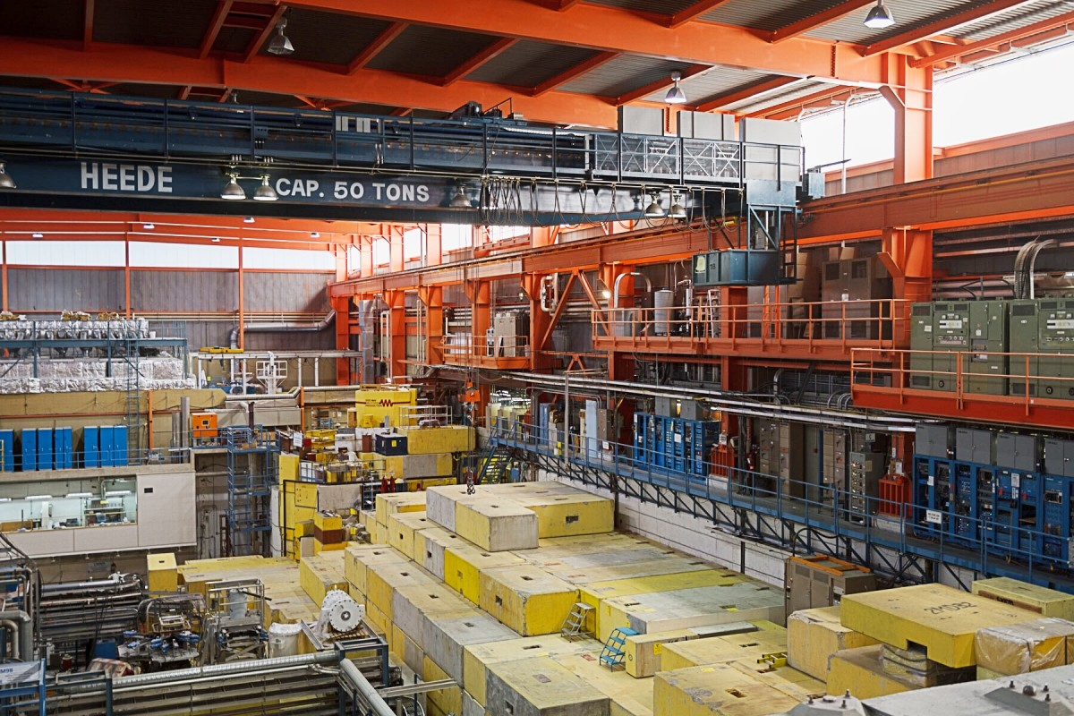 Looking in the other direction in Meson Hall; the stacks of blocks cover a specific beamline