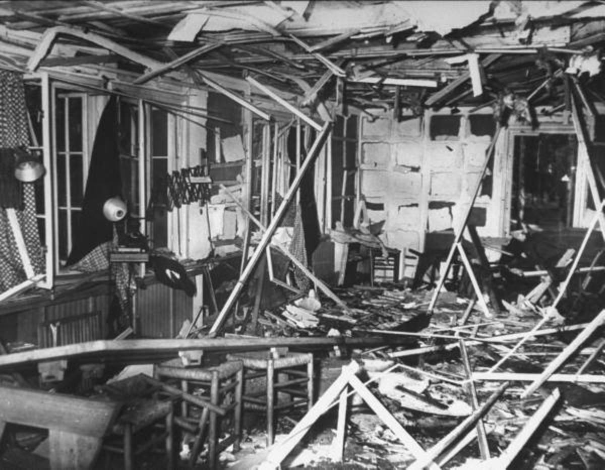 Damage caused by the bomb that was supposed to kill Hitler in 1944.
