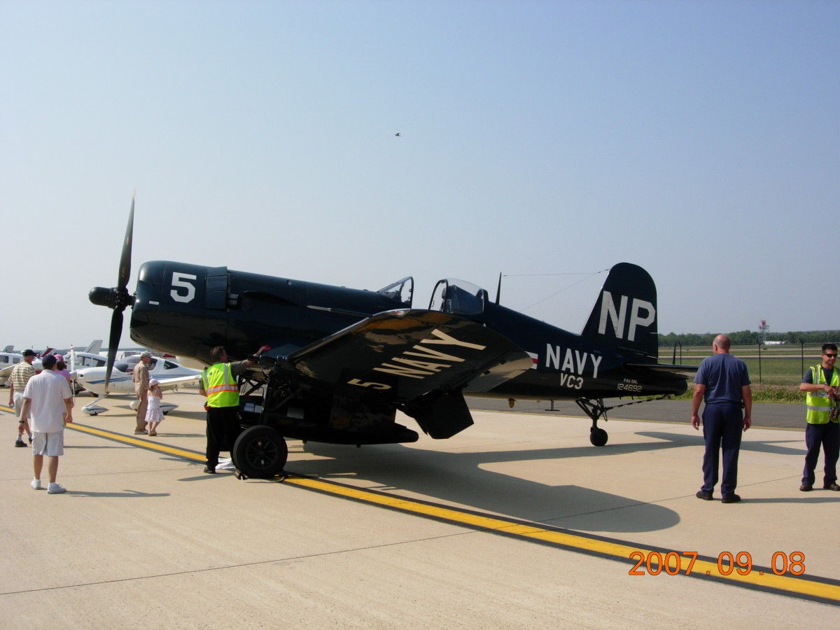 An F4U-5NL, Bu. Number 124692 at the Dulles Day Plane Pull, September 2007.