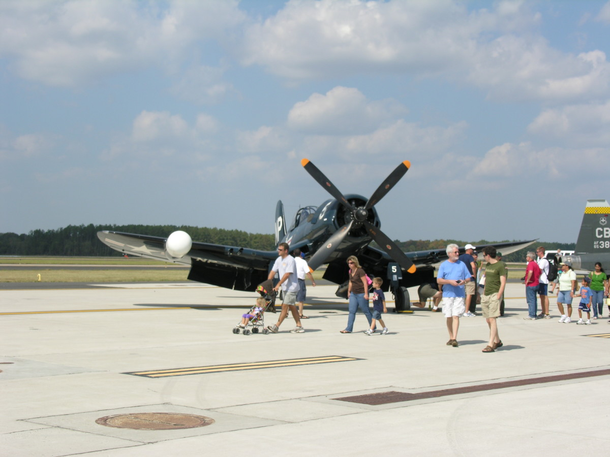 Corsair Bu. Number 124692, fitted with a radar pod for night fighting, at the Dulles Day Plane Pull, September 2010.