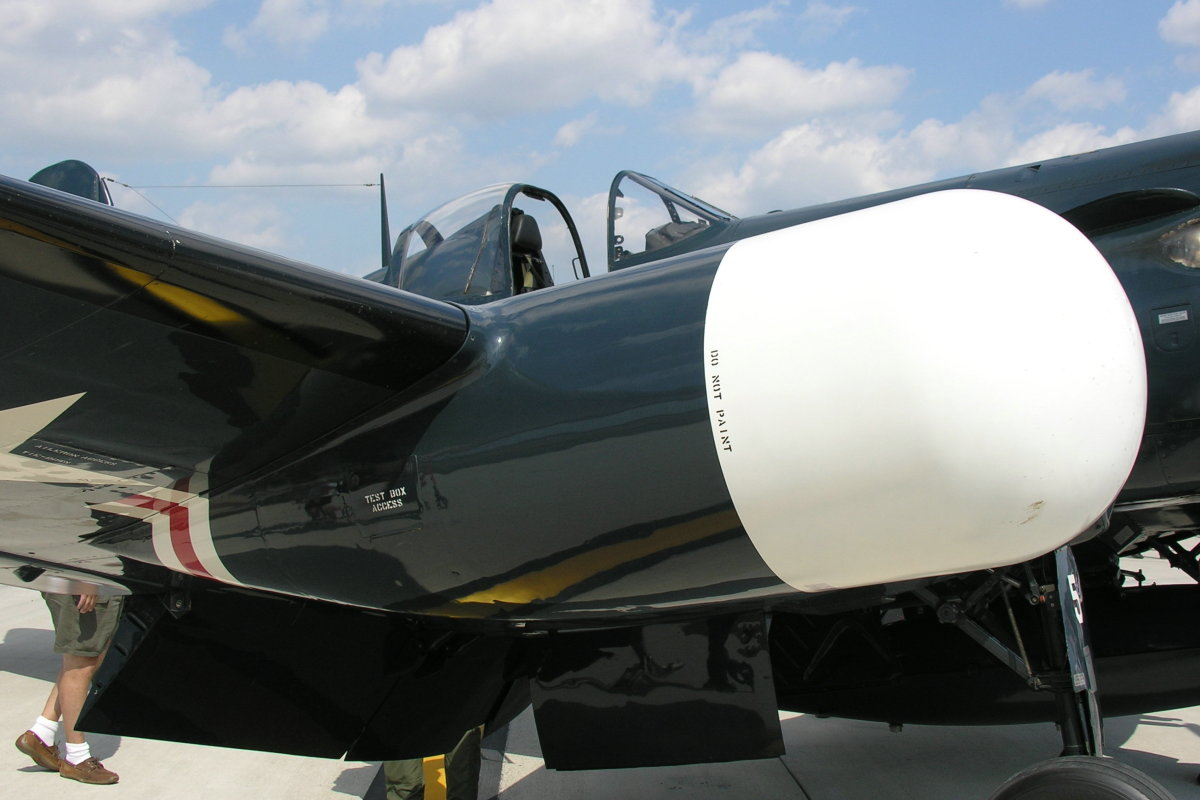 Close up view of Corsair, Bu. Number 124692's radar pod.