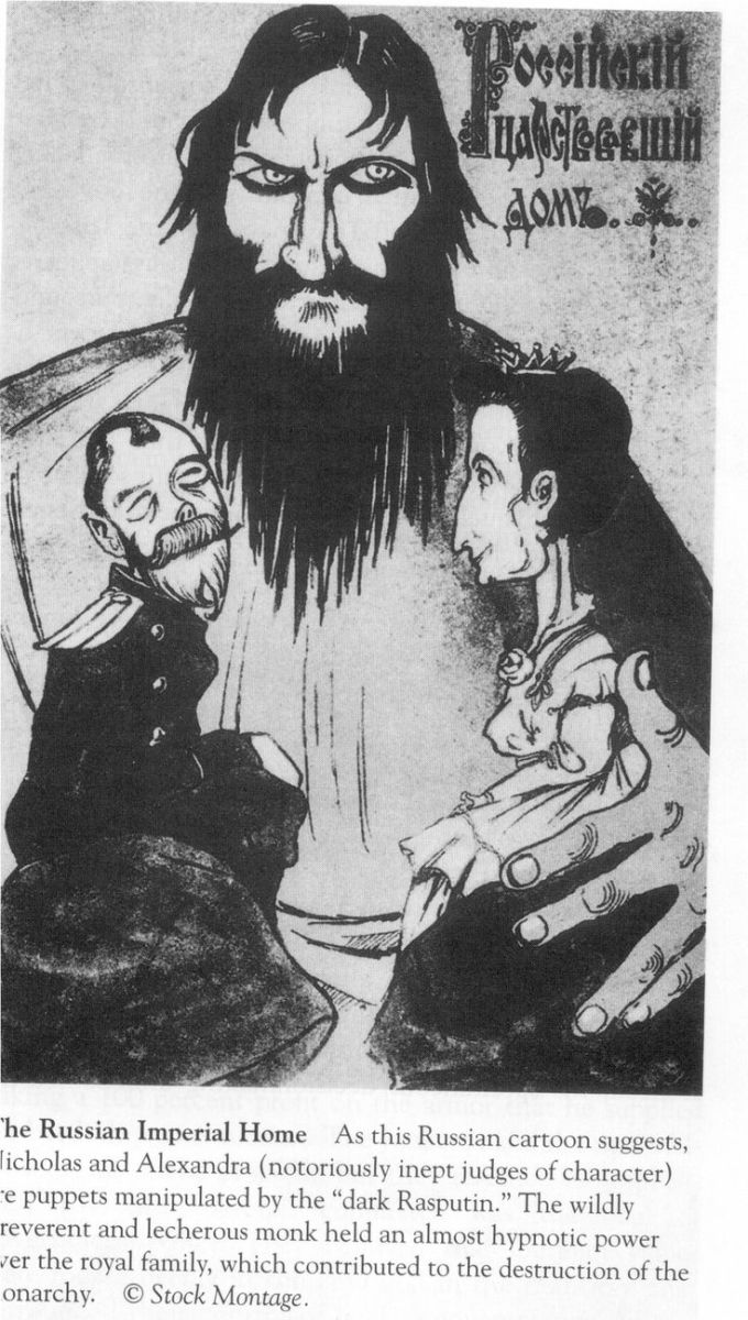 Propaganda showing that Rasputin had the royal family under his control