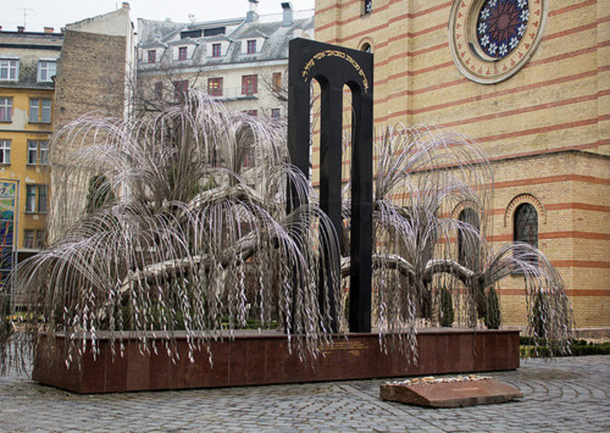 This memorial to Raoul Wallenberg in Budapest is a weeping willow tree. The names of Hungarian Jews killed in the Holocaust are engraved on leaves.