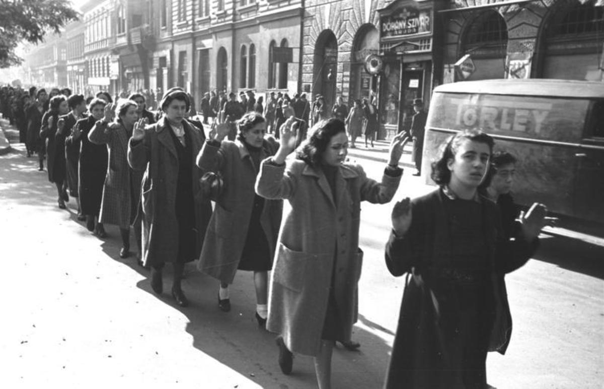 Jews under arrest in Budapest, October 1944.