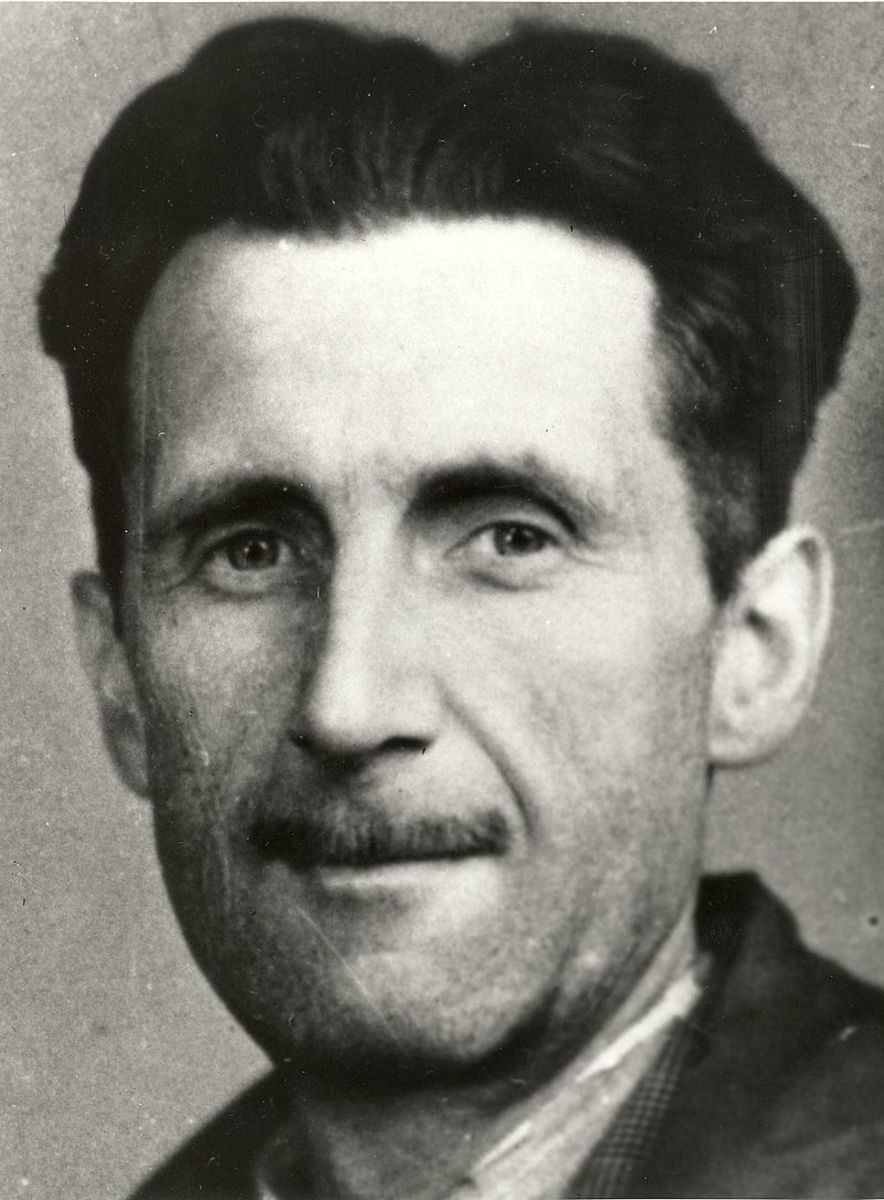 A press photo of Orwell in 1941.
