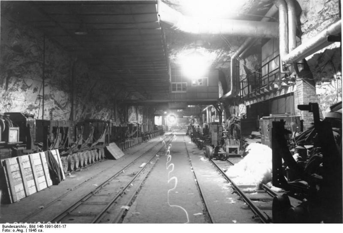 Inside the Nordhausen rocket factory known as Mittelwerk- Dora during the last days of the Second World War.