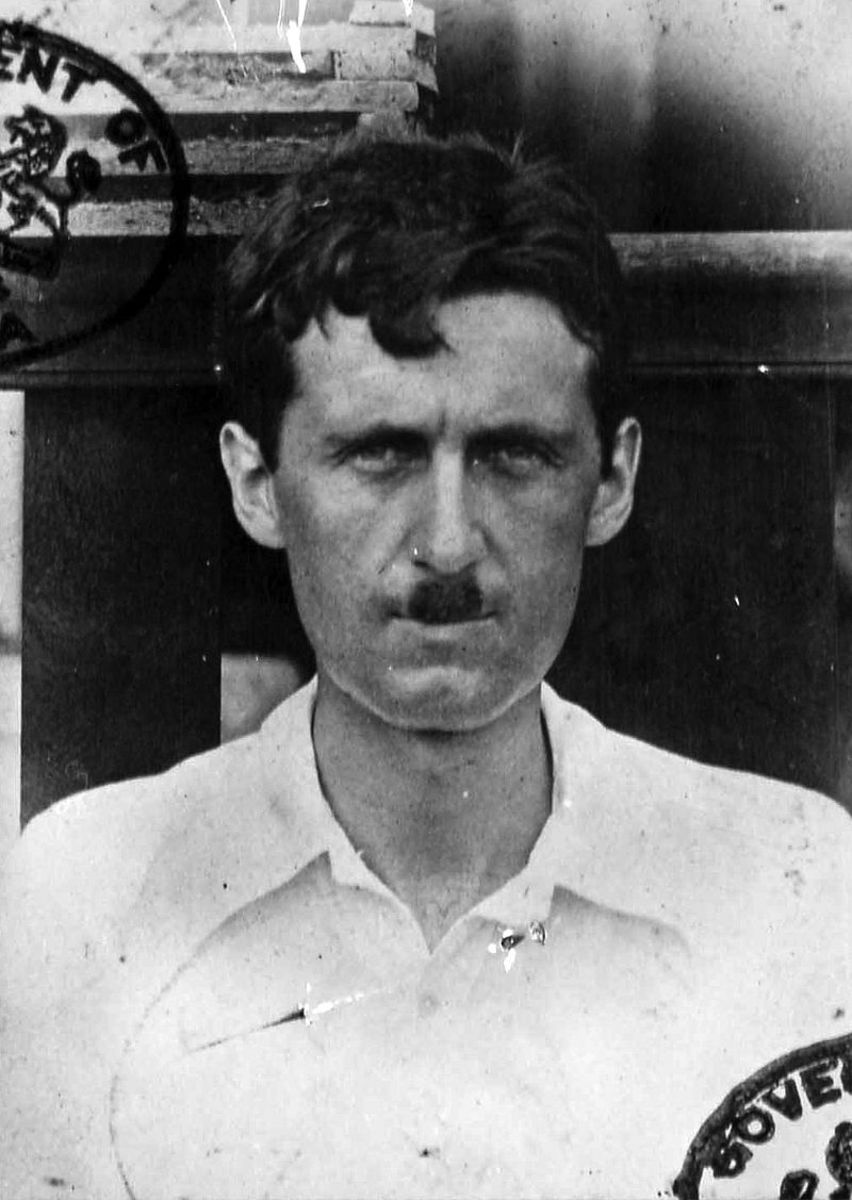 A passport picture of Eric Blair (George Orwell) during a trip to Burma in 1933.
