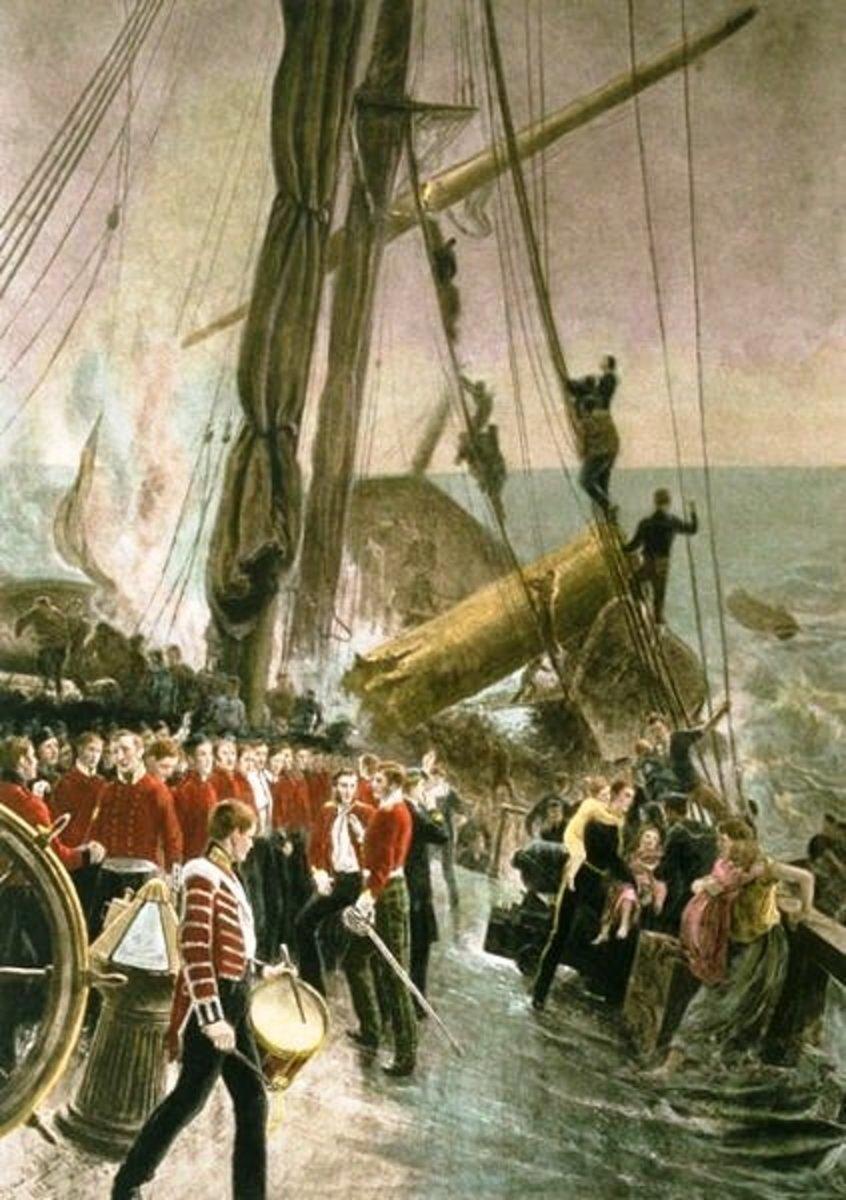 Soldiers aboard the Birkenhead await their fate.