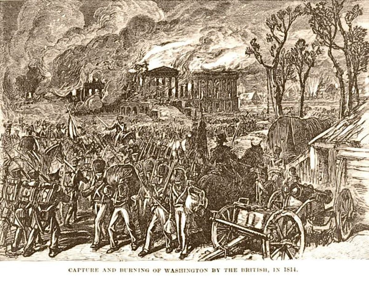 Lithograph of the burning of Washington D.C. during the War of 1812.