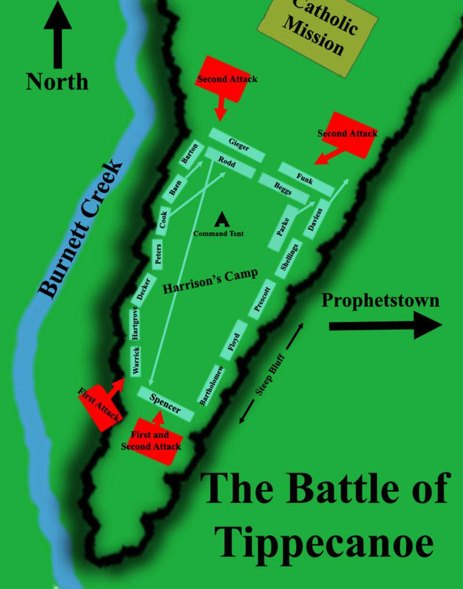 Battle Map of the Battle for Tippecanoe November 6,1811 where Harrison burns Prophetstown.