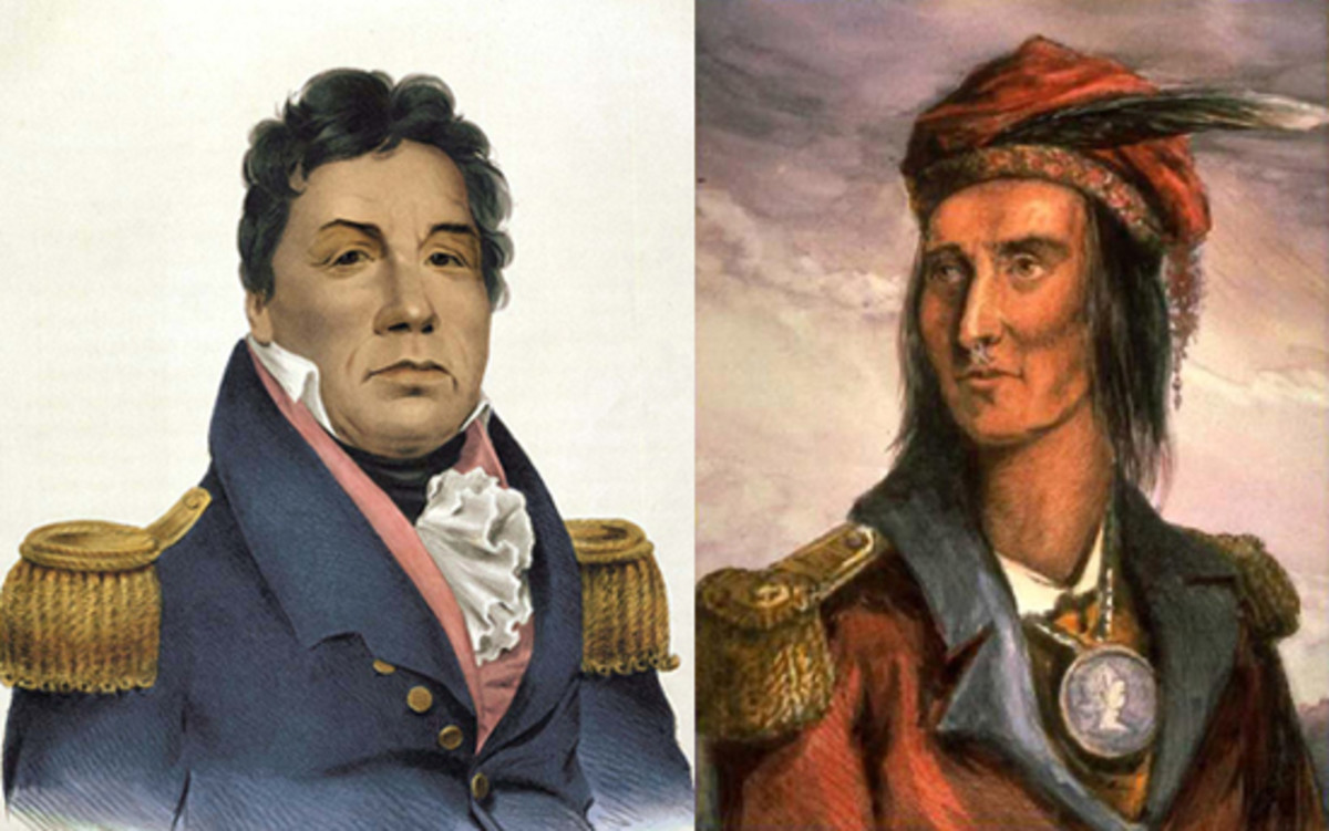 "On the left Pushmataha the ""Indian General"" of the Choctaw nation rejected Tecumseh's alliance and fought on the American side during the War of 1812. On the right Tecumseh the leader of the Shawnee."